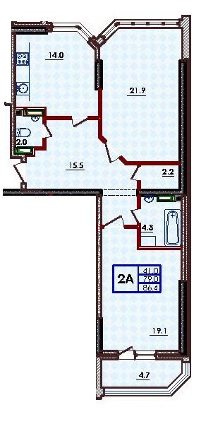 Двухкомнатная - ЖК Волна$56160Площадь:86,4m²