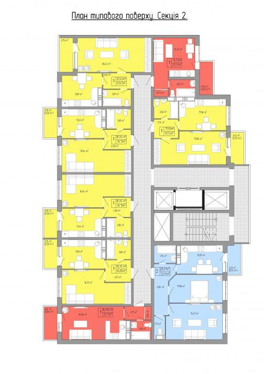 ЖК Акварель 3 на Пишоновской план типовой этажа 2 секция