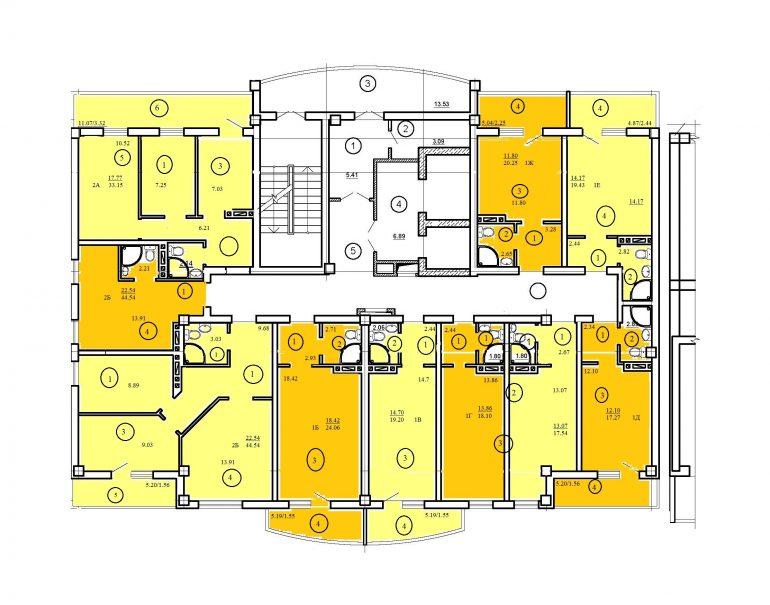 ЖК Одесский двор типовой план дом 10 секция 14