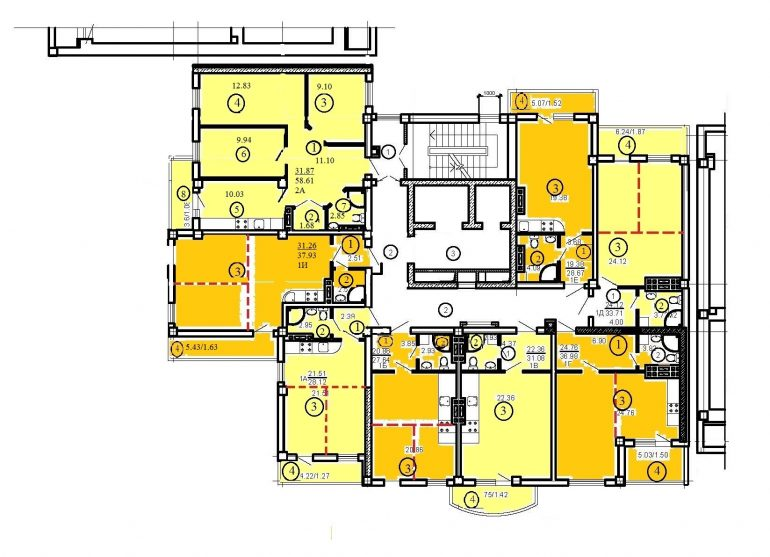 ЖК Одесский двор типовой план дом 3 секция 4