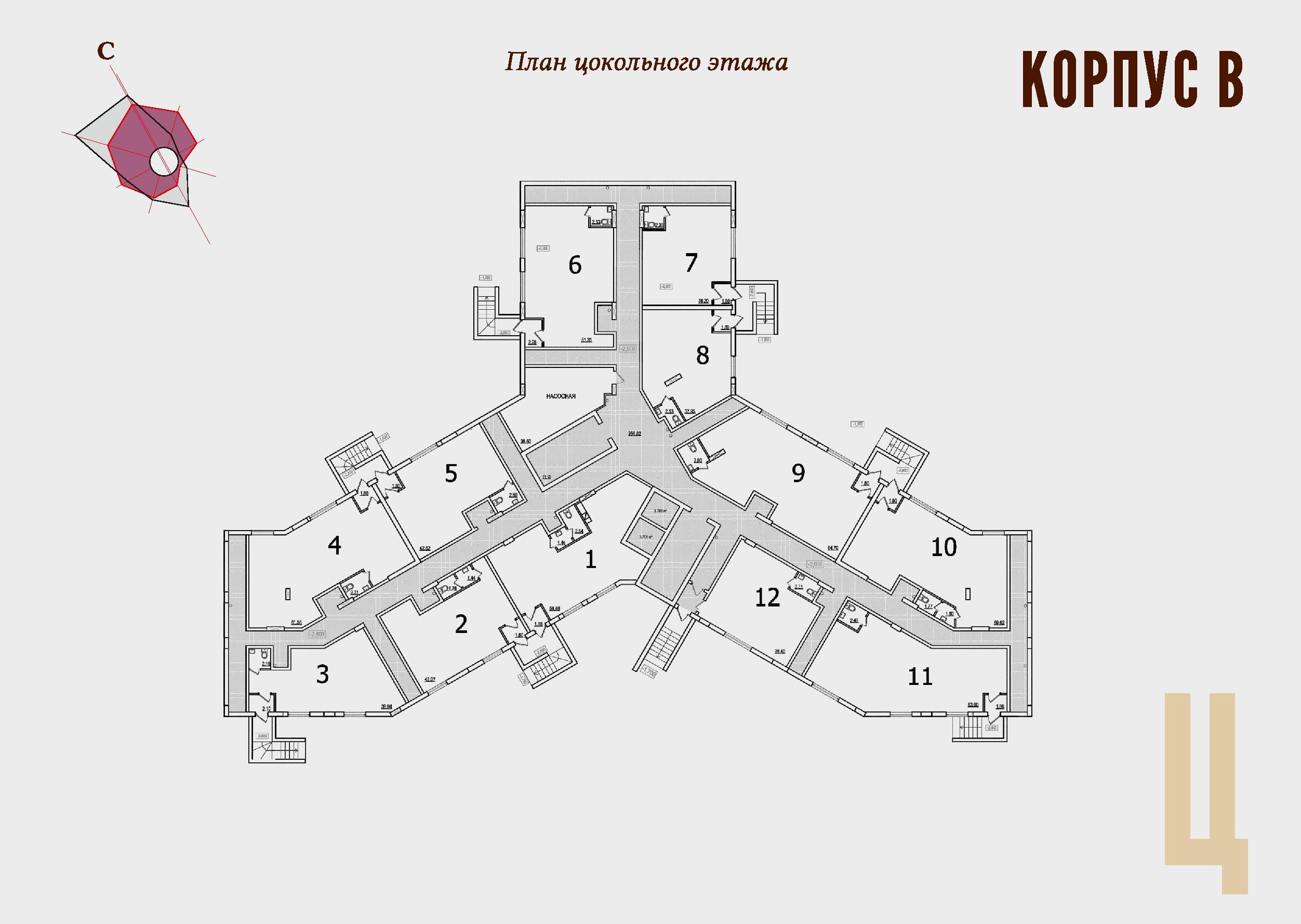 ЖК Континент Секция В план паркинга