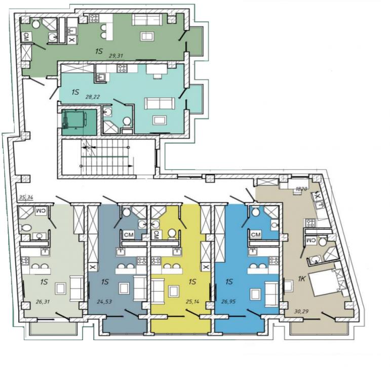 ЖК Смарт Холл (Smarthall) типовой план этажа