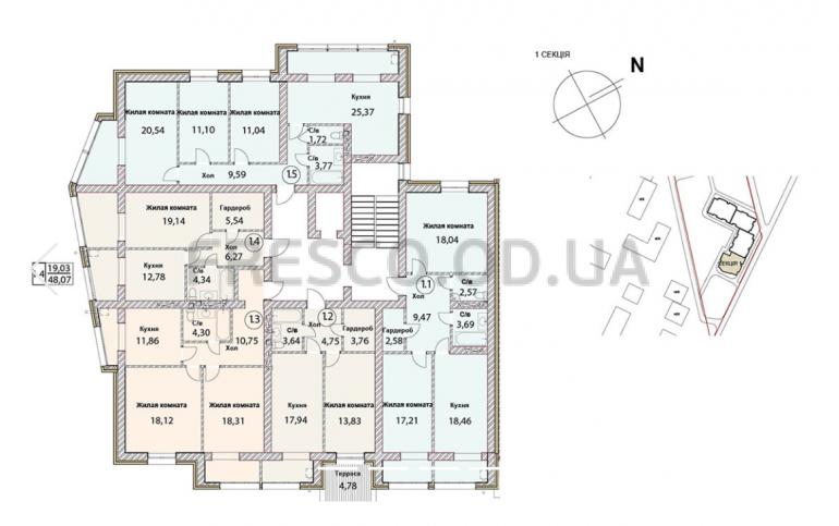 ЖК Чайка Люкс план 1-й секции