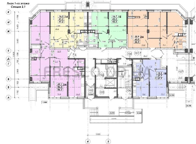 ЖК RealPark (Реал Парк) секция 2.1 план 1 этажа