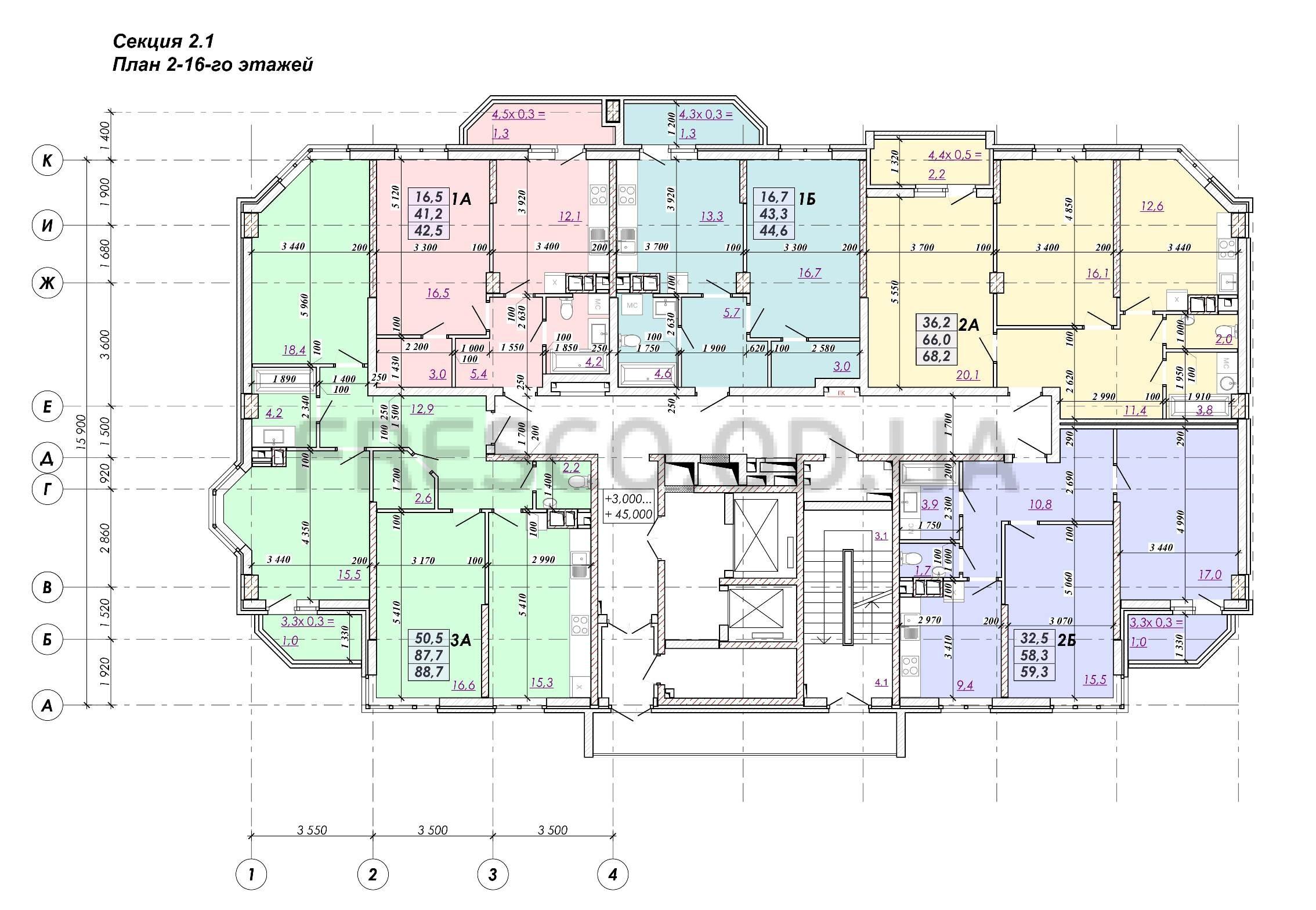 ЖК RealPark (Реал Парк) секция 2.1 план 2-16 этажа