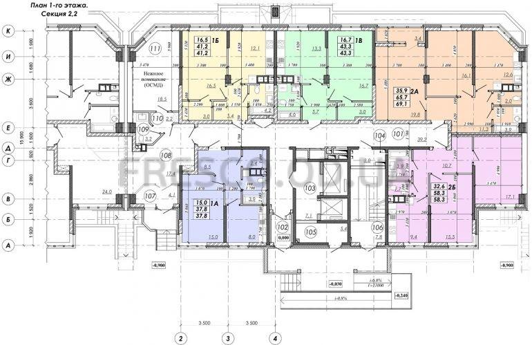 ЖК RealPark (Реал Парк) секция 2.2 план 1 этажа