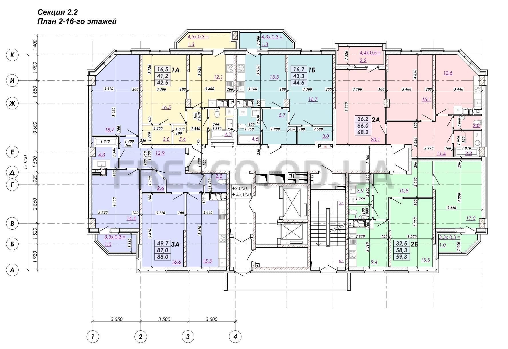 ЖК RealPark (Реал Парк) секция 2.2 план 2-16 этажа