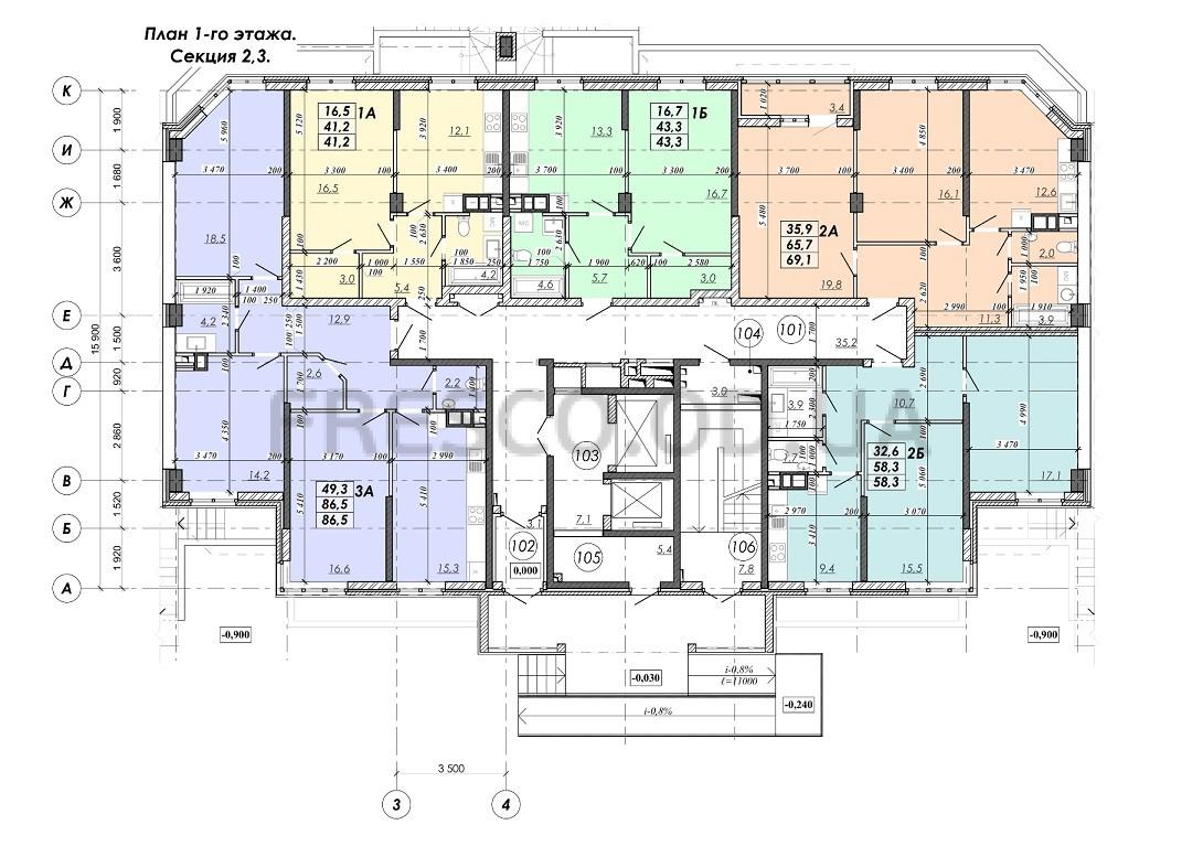 ЖК RealPark (Реал Парк) секция 2.3 план 1 этажа