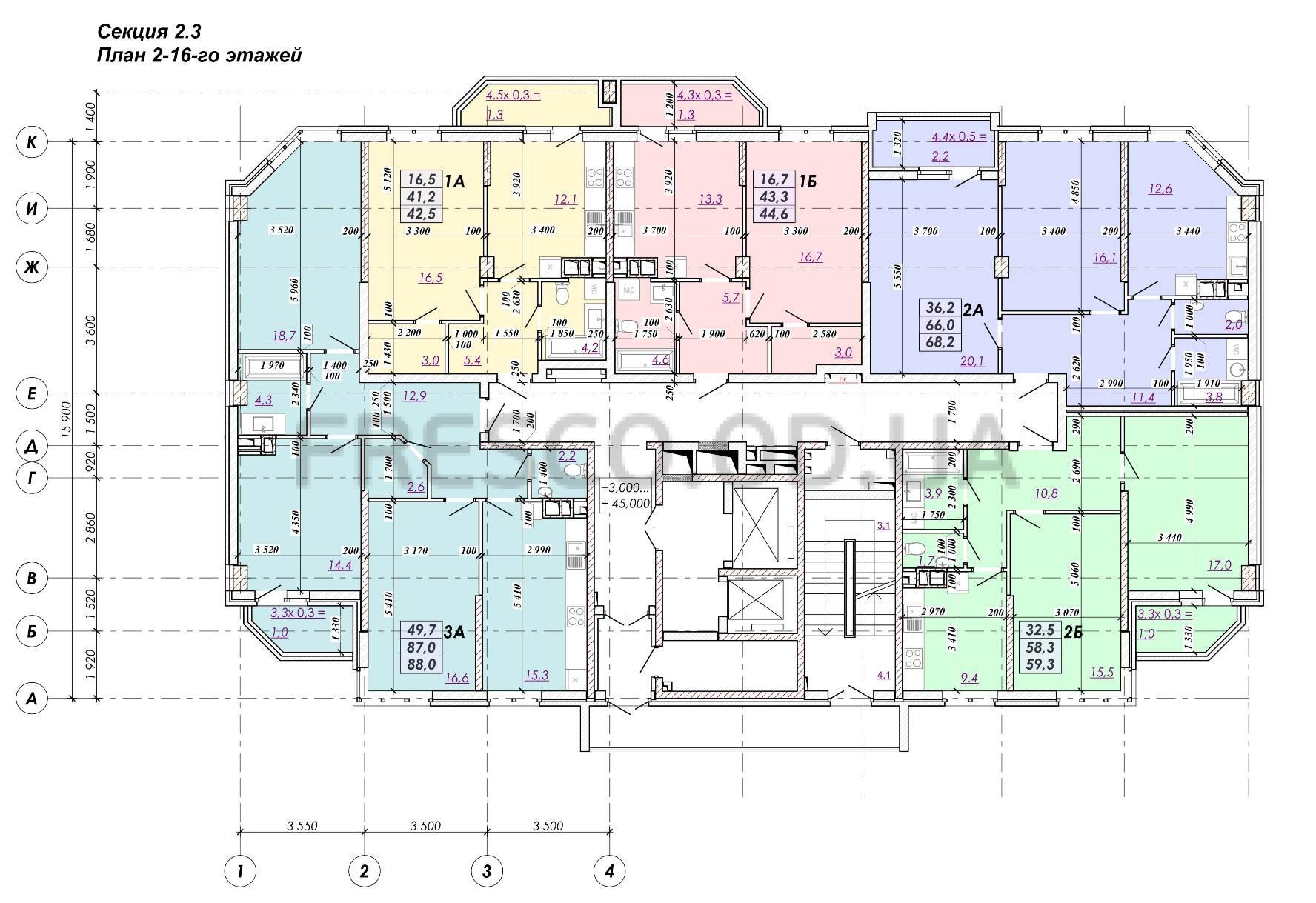 ЖК RealPark (Реал Парк) секция 2.3 план 2-16 этажа