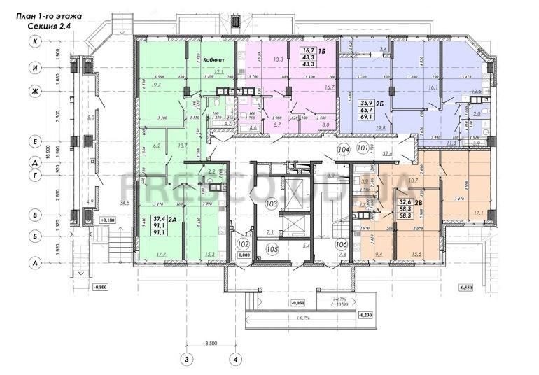 ЖК RealPark (Реал Парк) секция 2.4 план 1 этажа