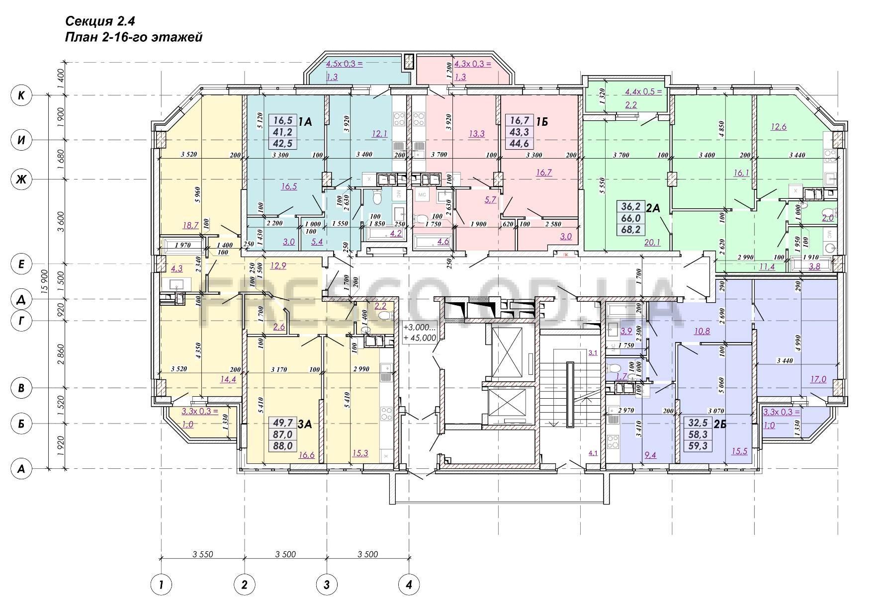 ЖК RealPark (Реал Парк) секция 2.4 план 2-16 этажа