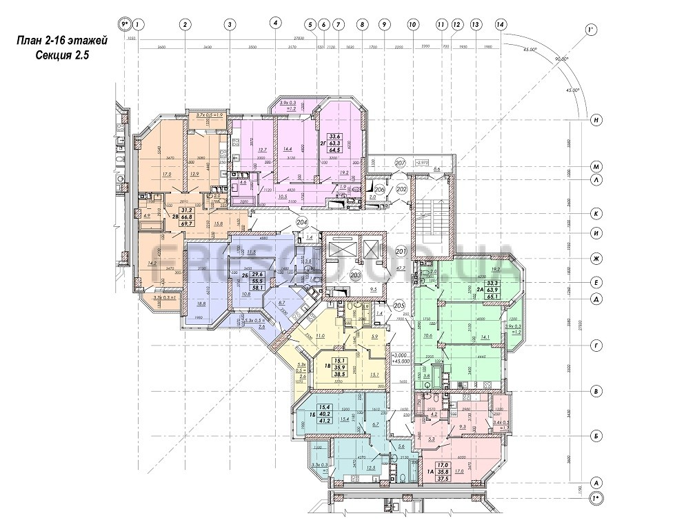 ЖК RealPark (Реал Парк) секция 2.5 план 2-16 этажа