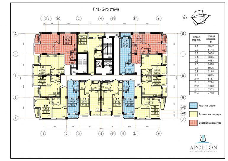 ЖК Аполлон Гефест типовой план 2-8 этажа