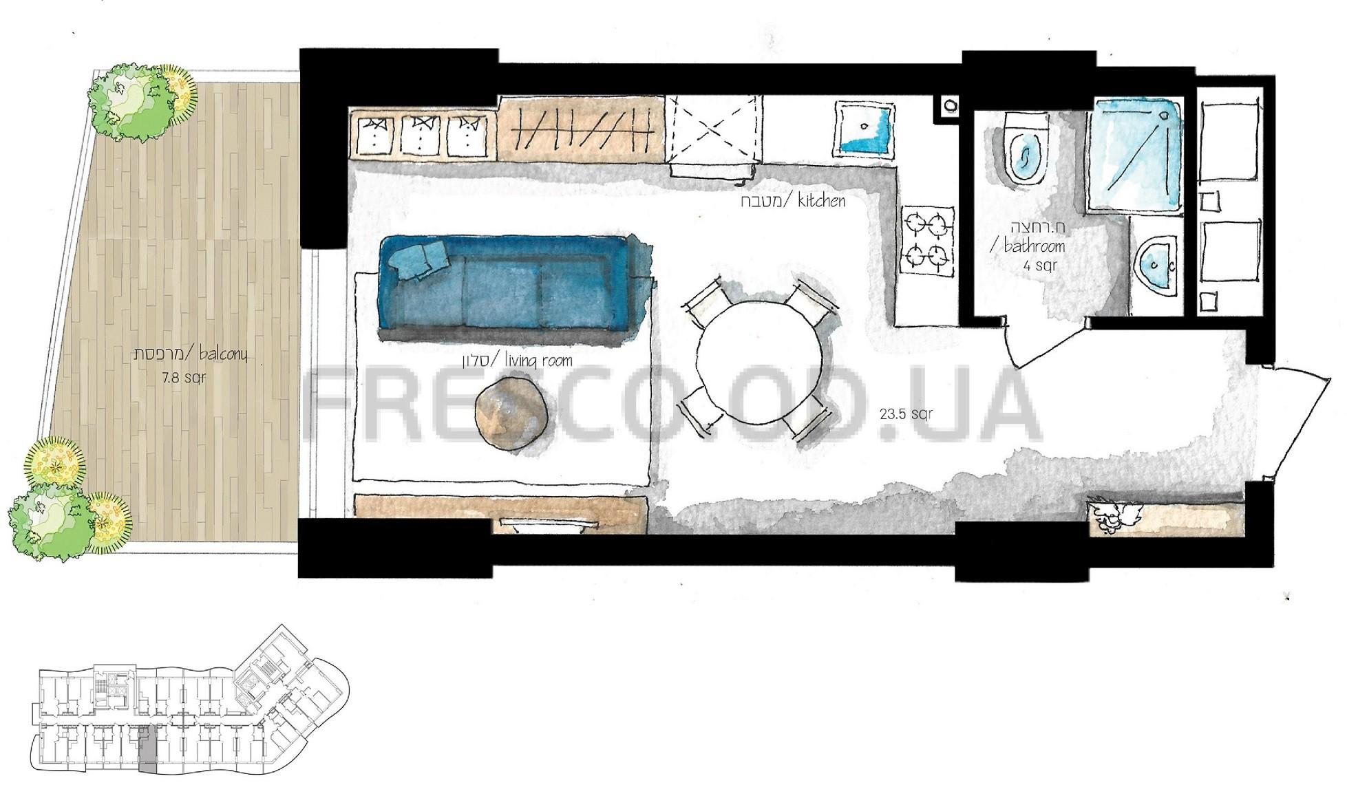 Однокомнатная - Эмпориум Тауэр (Emporium Tower)ПроданаПлощадь:27,5m²