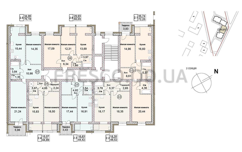 ЖК Чайка Люкс план 2-й секции