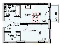 Однокомнатная - Пространство на РаскидайловскойПроданаПлощадь:34,25m²