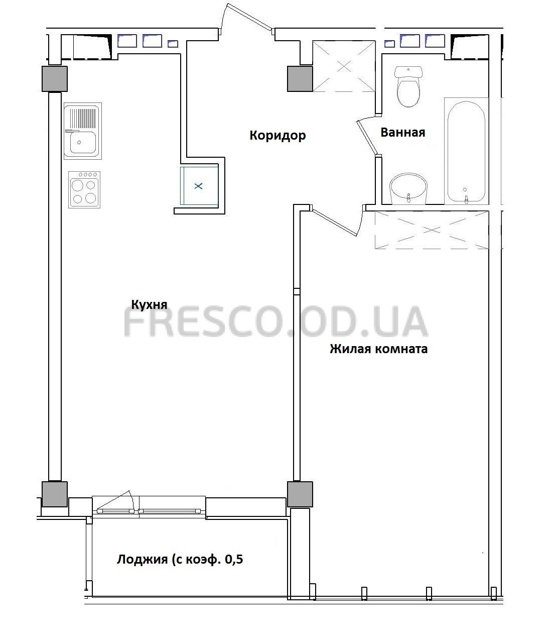 Однокомнатная - ЖК GreenWood (Гринвуд)$73440Площадь:40,8m²