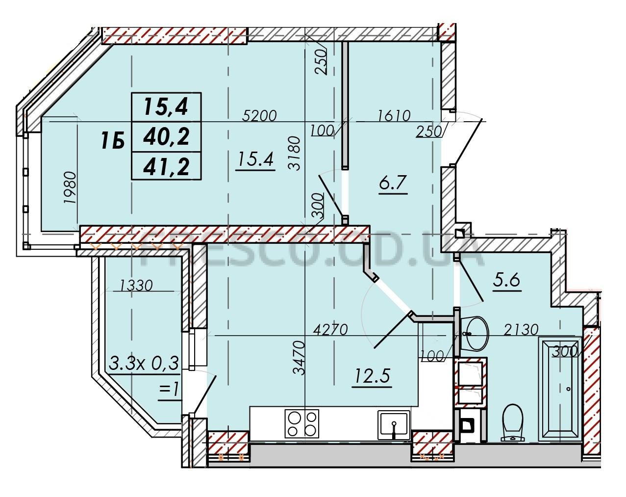 Однокомнатная - ЖК RealPark (Реал Парк)$26368Площадь:41,2m²