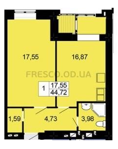Однокомнатная - ЖК Чайка$27210Площадь:44,72m²