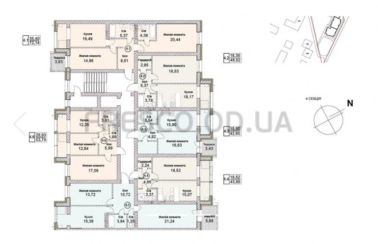 ЖК Чайка Люкс план 4-й секции