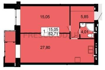 Однокомнатная - ЖК Чайка$32142Площадь:52,71m²