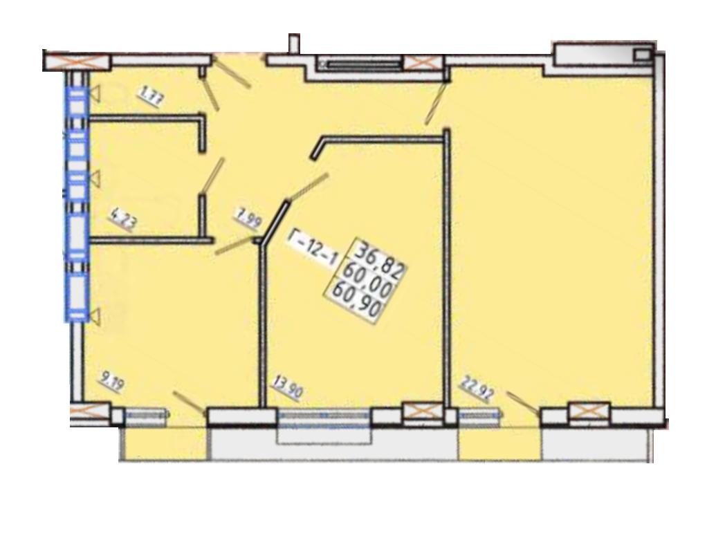 Двухкомнатная - ЖК Континент$40194Площадь:60,9m²