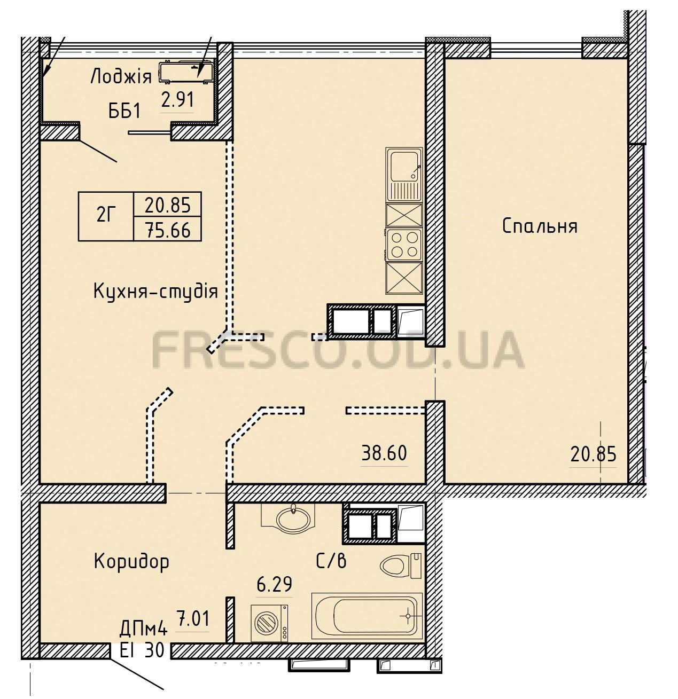 Двухкомнатная - Олимпийский Комплекс апартаментов$79443Площадь:75,66m²