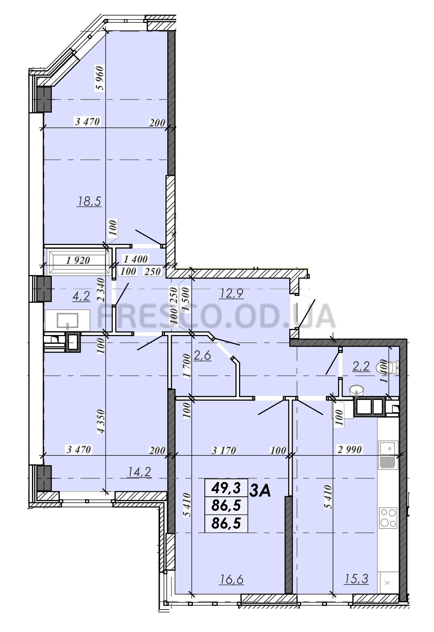 Трехкомнатная - ЖК RealPark (Реал Парк)$49280Площадь:88m²