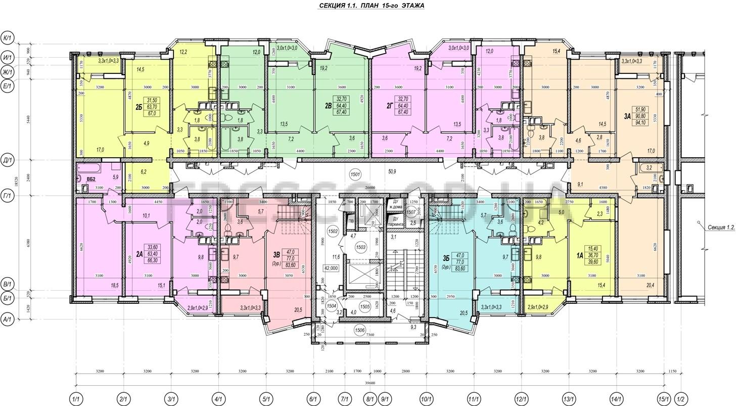 ЖК Прохоровский квартал секция 1 планировка 15 этажа