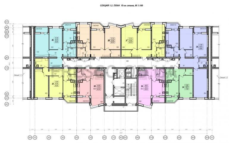 ЖК Прохоровский квартал секция 2 планировка 15 этажа