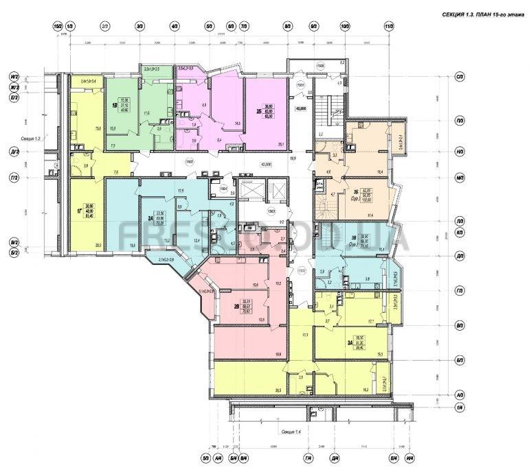 ЖК Прохоровский квартал секция 3 планировка 15 этажа