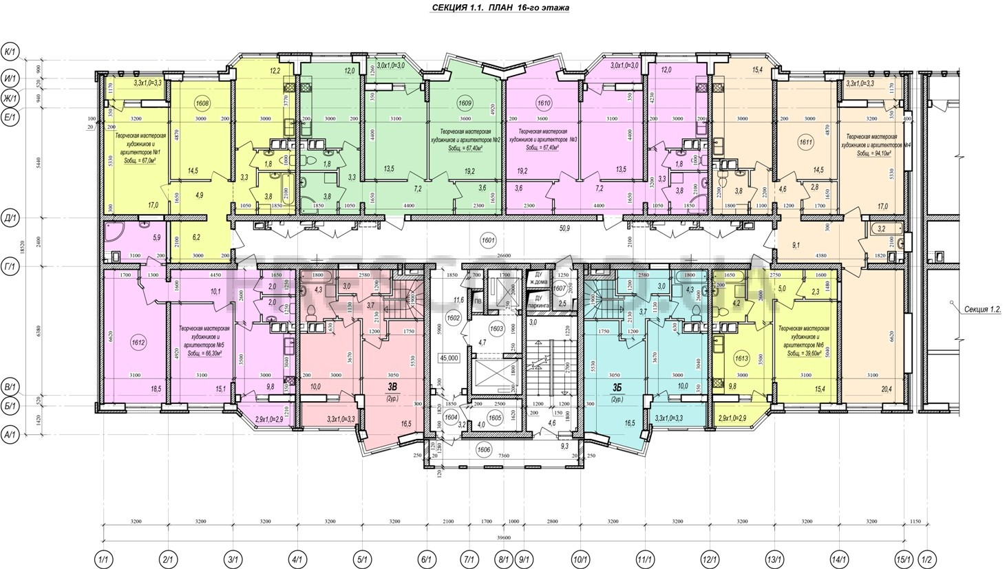 ЖК Прохоровский квартал секция 1 планировка 16 этажа