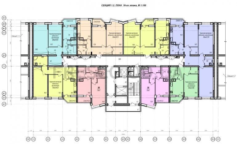 ЖК Прохоровский квартал секция 2 планировка 16 этажа