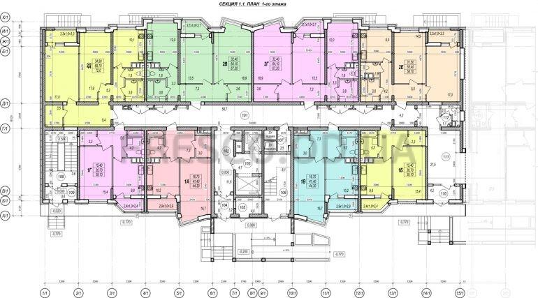 ЖК Прохоровский квартал секция 1 планировка 1 этажа
