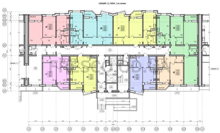 ЖК Прохоровский квартал секция 2 планировка 1 этажа