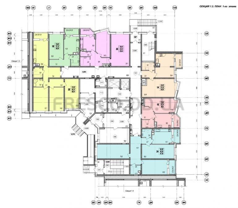 ЖК Прохоровский квартал секция 3 планировка 1 этажа
