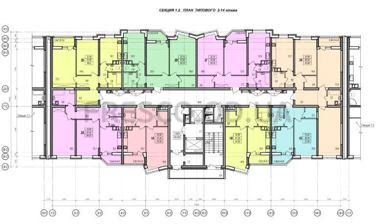 ЖК Прохоровский квартал секция 2 планировка 2-14 этажа