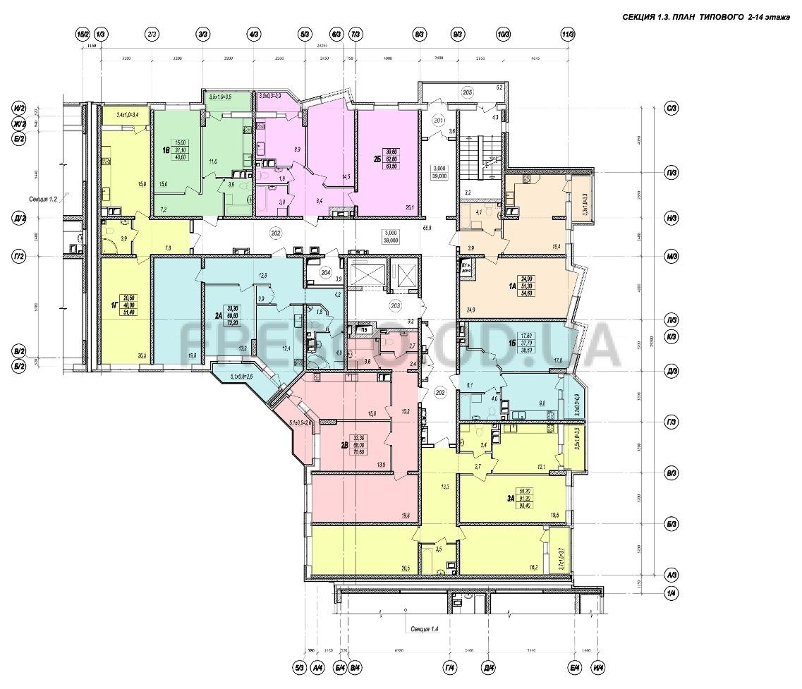 ЖК Прохоровский квартал секция 3 планировка 2-14 этажа