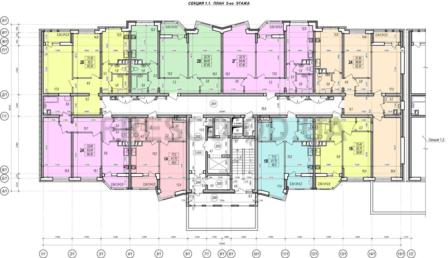 ЖК Прохоровский квартал секция 1 планировка 2 этажа