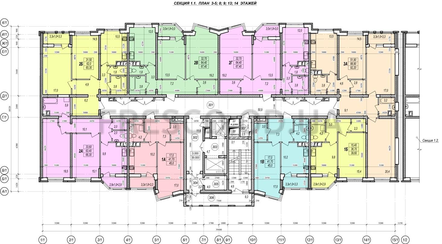 ЖК Прохоровский квартал секция 1 планировка 3,5,8,9,13,14 этажа