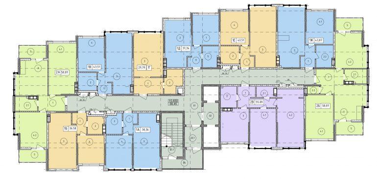 ЖК Manhattan (Манхэттен) 3 секция типовой план этажа