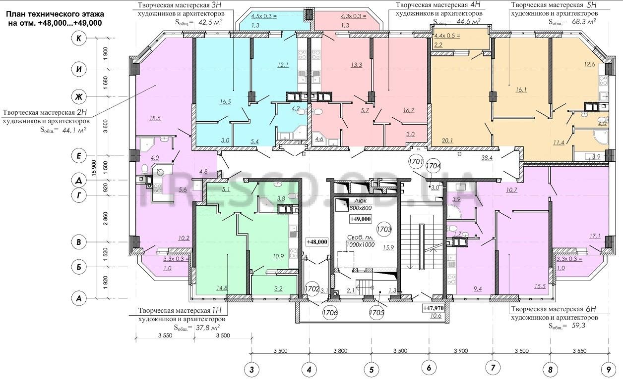 ЖК RealPark (Реал Парк) секция 2.3 план 17 этажа