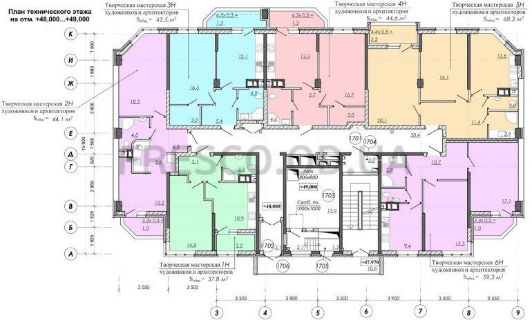 ЖК RealPark (Реал Парк) секция 2.4 план 17 этажа