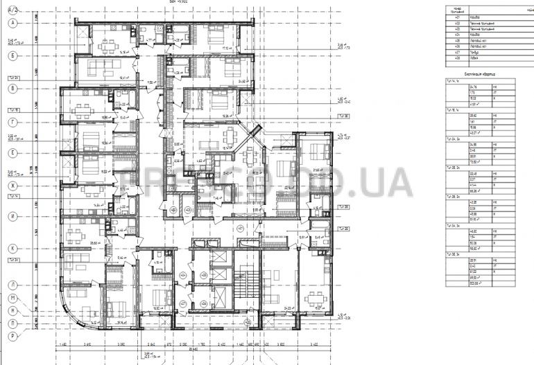 ЖК на Ивана Франко, 40 планировка типового этажа