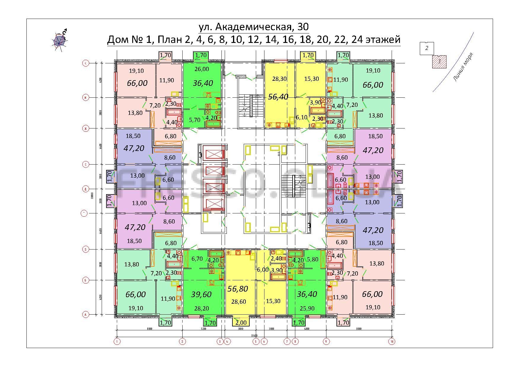 Будова Академическая Дом 1 план четных этажей