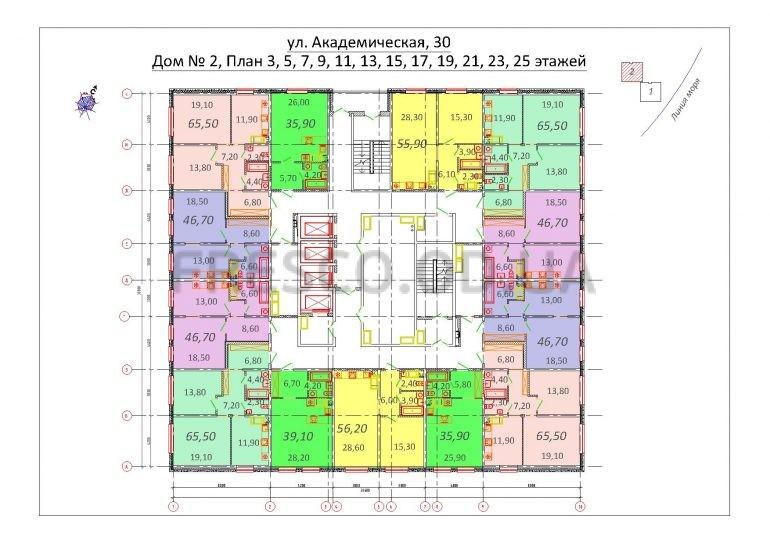 Будова Академическая Дом 2 план нечетных этажей