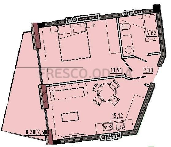 Однокомнатная - Пространство на 12 фонтана$53144Площадь:38,51m²