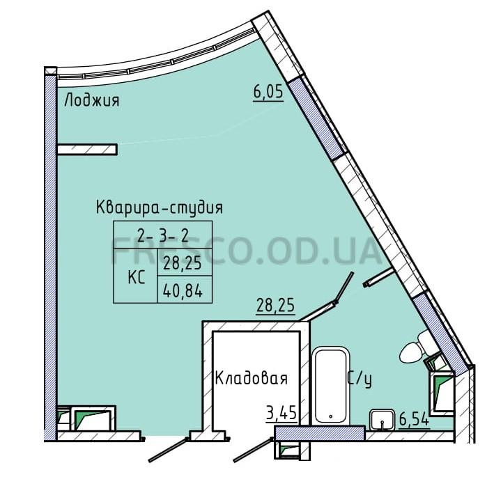 Однокомнатная - ЖК 44 Жемчужина (Сорок четвертая)ПроданаПлощадь:40,66m²