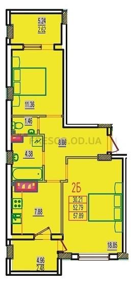 Двухкомнатная - ЖК Розенталь (RosenTal)$30103Площадь:57,89m²