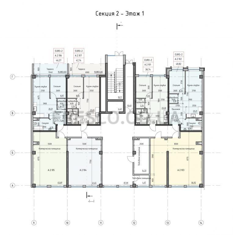 Пространство на Донского Корпус А Секция 2 план 1 этажа